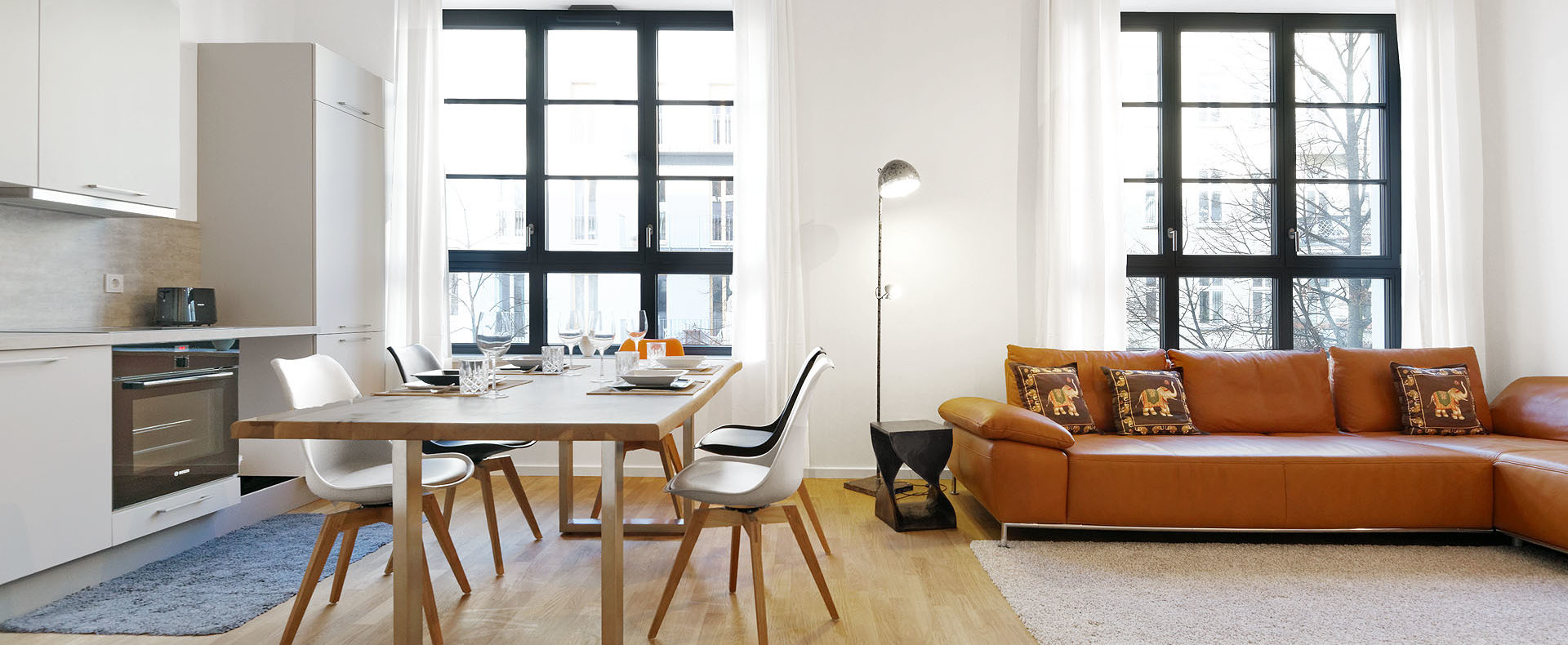 Living room furnished apartment wollinerstraße Berlin Mitte